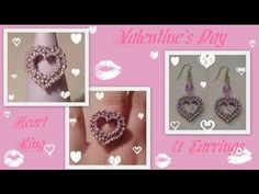CRAW Heart Ring and Earrings for Valentine's Day Beading Tutorial by HoneyBeads - YouTube