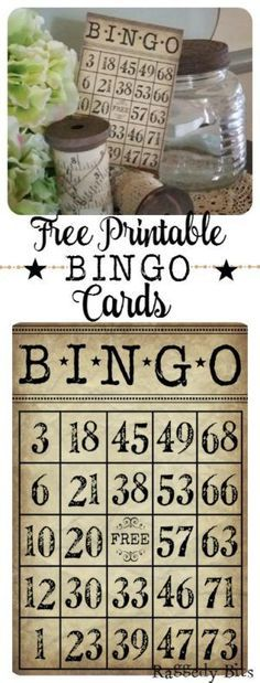 love decorating with numbers and just love the idea of having bingo cards in my displays around my home. Sharing my free Bingo Card Printable Vintage Labels, Vintage Cards, Vintage Paper, Free Printable Bingo Cards, Free Printables, Bingo Party, Decoupage, Papel Scrapbook, Scrapbooking