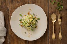 HealthyBYTe Autumn Lunch Menu_ Photo by James Morgan I Styling by Kirsty Bryson Raw zucchini linguine with mache, lemon, goats curd and hazelnut picada GF•V