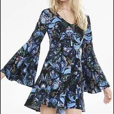 Express Paisley Dress Worn once.  Super cute fit and flare dress with bell sleeves Express Dresses
