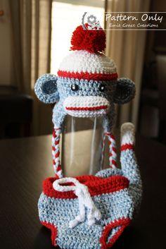 Diaper Cover Crochet Pattern  SOCK MONKEY  by EmieGraceCreations, $2.99