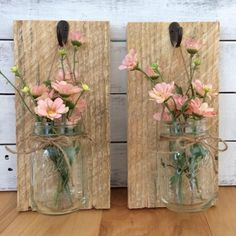 Rustic home decor set of 2 mason jar sconces hanging mason jar sconce mason jar decor wall sconce wall decor mason jar sconce with flowers Mason Jar Chandelier, Mason Jar Sconce, Hanging Mason Jars, Mason Jar Lighting, Painted Mason Jars, Mason Jar Candles, Diy Candles, Pot Mason Diy, Mason Jar Crafts