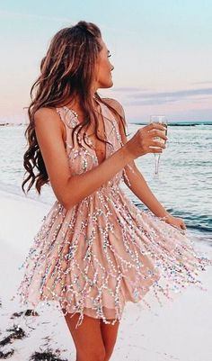 #Summer #Outfits for Spring Break / Nude Sparkle Dress