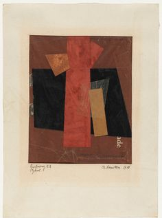 Kurt Schwitters. Drawing A2: Hansi. 1918 cut and pasted coloured paper and printed paper on printed paper with cardstock border