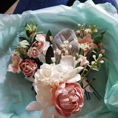 Lucinda added a photo of their purchase Wrist Corsage Wedding, Bridesmaid Corsage, Flower Headpiece Wedding, Flower Crown Wedding, Wedding Hair Flowers, Blue Bridesmaids, Blue Boutonniere, Rustic Boutonniere, Groomsmen Boutonniere