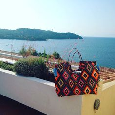 The Aztec rocking the Greek island of Skiathos - beach and poolside ☀️ Thank you Sam Duff for the pics.  www.catherinekelly.com.au #greece #aztec #summer #beachbag #islandstyle