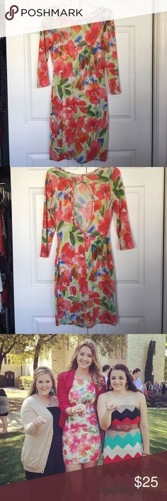 Floral dress Beautiful, fitted, floral dress with a keyhole back! Purchased at a local boutique in Gruene, Texas. Only worn once! Dresses