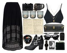 """""""Doomsday"""" by chelseapetrillo ❤ liked on Polyvore featuring Sharpie, Andrea Garland, Moleskine, H&M, River Island, Orelia, Louis Vuitton, INDIE HAIR, American Apparel and Holga"""