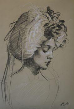 """Teresa Oaxaca """"Beige"""", 16x25"""", charcoal and white chalk on Ingres paper"""
