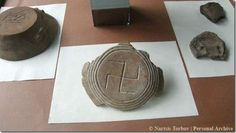 2,500 year old Vinca culture symbol, we call a swastika - which is a sanskrit word, excavated at a religious site in Altimir, Bulgaria. It is one of many symbols used by the culture going back as far as 6,500 BCE, but we have no idea of it's meaning or whether it was brought east to the Indian subcontinent or v.v. or derived independently by various cultures.