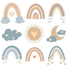Scandinavian Pattern, Scandinavian Style, Free Vector Art, Vector Vector, Vector Freepik, Rainbow Colors, Pastel Colors, Feather Background, Cute Cartoon