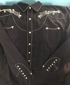 Scully Mens Shirt Western Black Poly Blend Embroidered Music Note2XL Pearl snap  | eBay