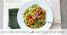 Zucchini Noodles with Sauteed Vegetables Recipe Main Dishes, Side Dishes with zucchini, coconut oil, roma tomatoes, sweet mini bells, sweet onion, mushrooms, garlic, basil, asiago, cracked black pepper, sea salt
