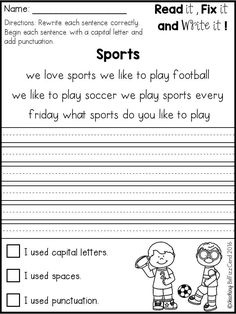 First grade Fix it Up! These can be used for kindergarten and second-grade classroom. Inside you will find 15 reading passages to read, edit and rewrite. Kindergarten Freebies, Kindergarten Writing, Teaching Writing, Teaching Resources, Literacy, 1st Grade Worksheets, School Worksheets, Writing Worksheets, Writing Activities
