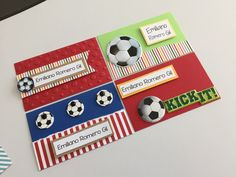 Tarjetas personales infantiles #scrapbook #futbol # soccer Ideas Para Fiestas, Punch Art, Kids Cards, Boy Birthday, Diy For Kids, Gift Tags, Business Cards, Projects To Try, Arts And Crafts