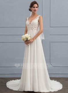 Buy A-Line/Princess V-neck Court Train Chiffon Wedding Dress on sale - wedding dresses in Weddingdresstrend, As a leading retailer and wholesaler of Cheap Wedding Dresses, Weddingdresstrend offers you top quality,adorable price and fast shipping. Wedding Dress Chiffon, Wedding Dress Big Bust, Dresses For Big Bust, Wedding Dressses, Wedding Dresses With Straps, Cheap Wedding Dress, Dream Wedding Dresses, Pretty Dresses, The Dress