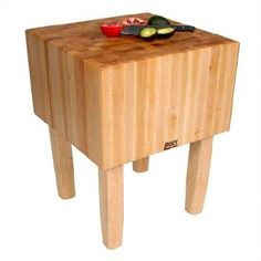 Features:  -16'' End grain work surface.  -Solid hard maple construction.  -Varnique finish on legs and sides.  -AA Professional.  Product Type: -Prep Table/Butcher Block.  Base Finish: -Natural maple