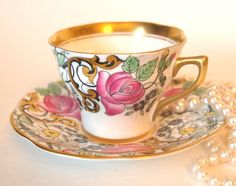Teacup Set Gold and Black Floral Tea Cup and Saucer with Pink Roses Bone China Rosina Queens England