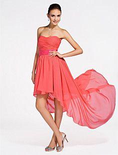 A-line Strapless Asymmetrical Chiffon Bridesmaid Dress  – USD $ 99.99