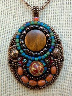 WAY OUT WEST  Bead Embroidery Pendant in Southwest by CindyCaraway,