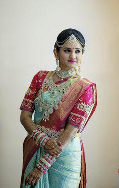 South Indian bride, telugu bride, wedding jewelry, diamond jewellery, pattu saree, kanjeevaram saree Bridal Silk Saree, Saree Wedding, Silk Sarees, Alia Bhatt Hairstyles, Lehenga Saree Design, Best Blouse Designs, South Indian Bride, Fancy Sarees, Bride Look