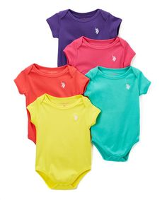 Yellow & Purple Short-Sleeve Bodysuit Set - Infant