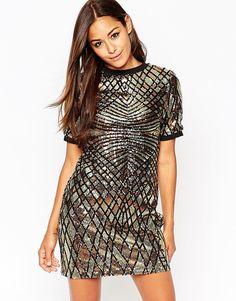 Image 1 - ASOS - Mini robe débardeur ornée de sequins à motif géométrique