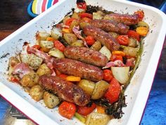 Slimming Slimming World Sausage Tray Bake - Mouthwatering comfort food at its best! Use syn free sausages to make it completely syn free! Slimming World Sausages, Slimming World Dinners, Slimming Eats, Slimming World Recipes, Slimming Workd, Sausage Recipes, Diet Recipes, Cooking Recipes, Healthy Recipes