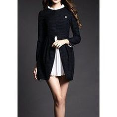 Vintage Ruffled Collar Long Sleeves Chiffon Splicing Dress For Women