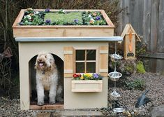 Want to make your dogs house blend in with your garden? how about this roof garden dog house!