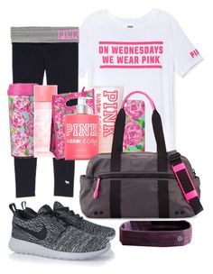 """what I'll be wearing every Wednesday"" by sofiaestrada ❤ liked on Polyvore featuring Victoria's Secret PINK, Lilly Pulitzer, lululemon, Rebecca Minkoff and NIKE"