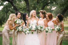 The bridal party is absolutely thrilled in this photo at Ma Maison by The Bird & The Bear with STEMS Floral bouquets and coordination by Heavenly Day Events. #austinweddingplanner #drippingspringswedding #outdoorwedding #heavenlydayevents #hillcountry #mamaison #hitched #bridesmaids