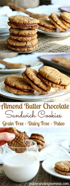 Amazingly Chewy and delicious Paleo Almond Butter Chocolate Sandwich Cookies that are grain free, gluten free, dairy free. This must-try recipe is the perfect healthy cookie to impress! You won't beli (Almond Butter Nutrition) Patisserie Sans Gluten, Dessert Sans Gluten, Gluten Free Sweets, Paleo Dessert, Gluten Free Baking, Healthy Sweets, Dairy Free Recipes, Vegan Desserts, Healthy Baking