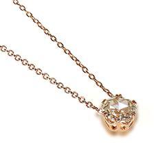 Rose gold, rose cut diamond vintage design necklace, tasteful and delicate