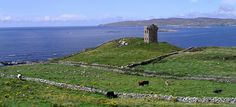 Crohy Head, Co. Donegal, Ireland. Low walls around.In the background, we can see Arranmore Island.