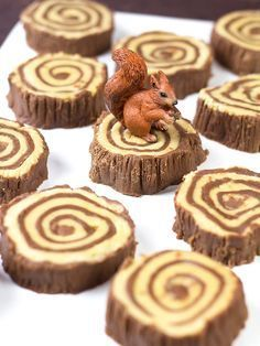 """No matter how you slice it, these fudge tree rings will leave your taste buds yelling """"TIMBER!"""" Read more here - Lumberjacks Rejoice! A Recipe for Fudge Tree Rings Charlotte Dessert, Enchanted Forest Party, Woodland Party, Woodland Cake, Woodland Theme, Jungle Theme, Fudge Recipes, Cake Decorating, Decorating Tools"""