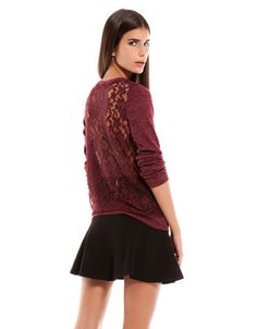 Burgundy #Lace Back Combined Fabric #Jumper #top