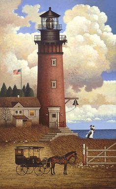 artist Charles Wysocki   I have put together 4 of his puzzles and had them framed in old barn boards.