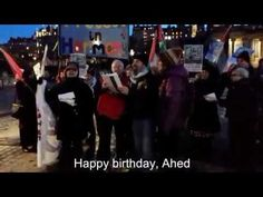 """Happy Birthday Ahed Tamimi - version 2 with subtitles Edinburgh 31st January 2018 members of Scottish Palestine Solidarity Campaign together with the """"Protest in Harmony"""" choir sing Happy Birthday to Ahed Tamimi. Scottish Palestine Solidarity Campaign videos. Scottish activity with Boycott Divestment and Sanctions. End the occupation. The right of return of all Palestinian refugees. Equal rights of all citizens within Israel and Palestine. Anti- racist organisation working to raise awareness…"""