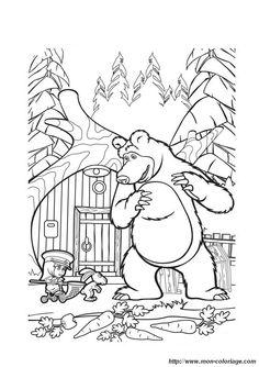 Masha and The Bear Cartoon Coloring Page Wallpaper HD