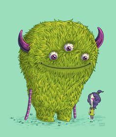 Vrolijk groen #monster | www.Fluzzy.nl