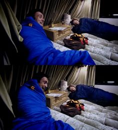 """James:Camping like this can be kind of romantic"""" Richard: Don't say that I'm on the same bed as you!"""