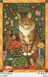 Art - Book - Lesley Anne Ivory Christmas Cats - Gemma & the Pink Sugar Mouse pieces) Cat Christmas Cards, Christmas Animals, Christmas Presents, Xmas, Les Moomins, Jig Saw, Art Carte, Gatos Cats, Christmas Illustration