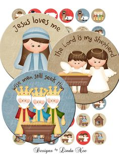 Instant Download - CHRISTmas Nativity Kids (1 inch Round) bottlecap Digital Collage Sheet - sticker magnet Chistmas Jesus Tweens