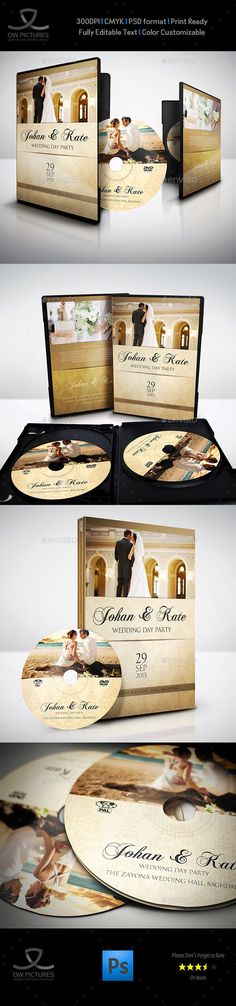 Wedding DVD Cover and DVD Label Template Vol.4 — Photoshop PSD #dvd art #engagement • Available here → https://graphicriver.net/item/wedding-dvd-cover-and-dvd-label-template-vol4/9828863?ref=pxcr