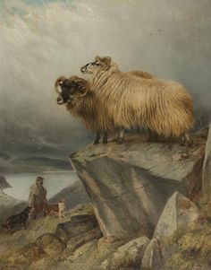 Sheep on a Crag with Ghillie and Dogs Below by Richard Ansdell (1815-1885)