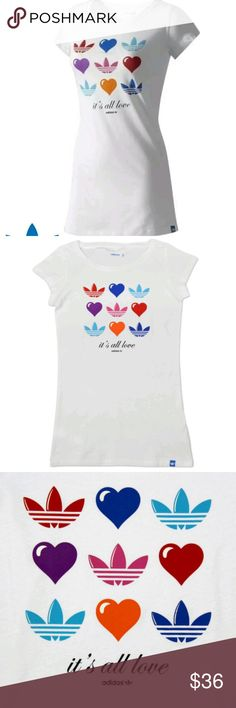 NWT Adidas Originals It's All Love Tee Shirt Adorable and rare! Brand new white tee shirt from Adidas. Multicolor hearts. Authentic  Size women's medium. adidas Tops Tees - Short Sleeve
