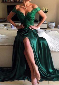 d65c7c2e138f Dark Green Off Shoulder Sweep Train Legslit Prom  prom  promdress  dress   eveningdress