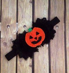 Halloween headband, pumpkin headband, jack-o-lantern headband, Halloween accessory, orange and black headband, Halloween baby headband