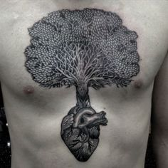 Black and white tree of life (tree heart) tattoo done by Dale Sarok